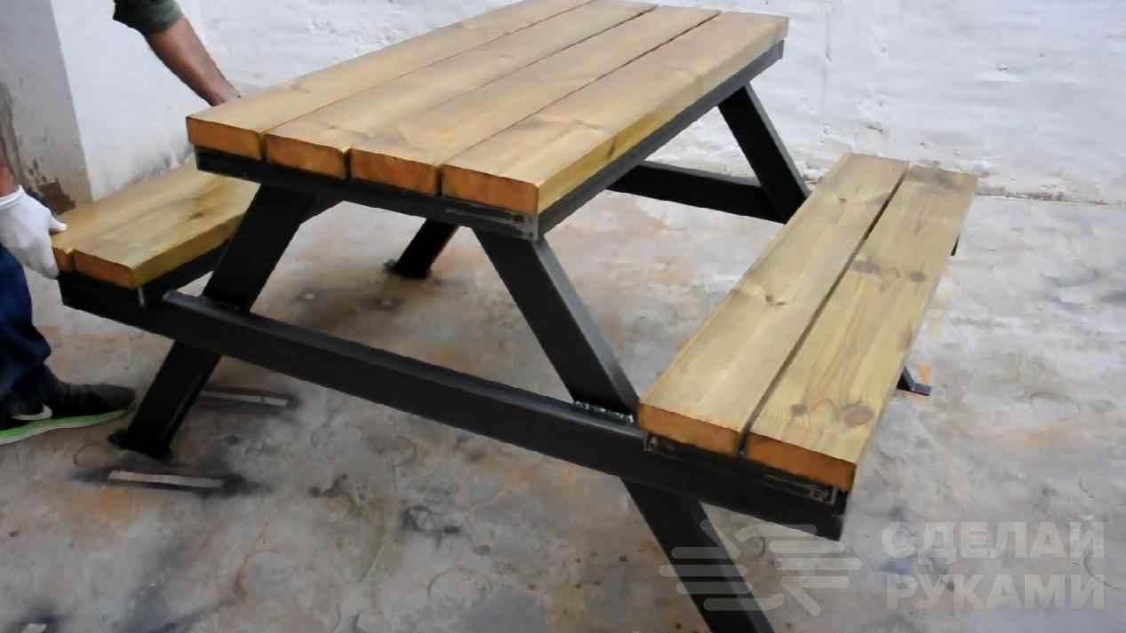 0278c9d6c035de4594d5bfe4fc25423d - Идея для дачи: столик с лавочками из профтрубы и досок