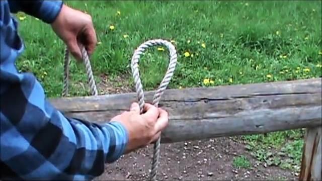 Как привязать веревку к столбу, чтобы потом легко отвязать