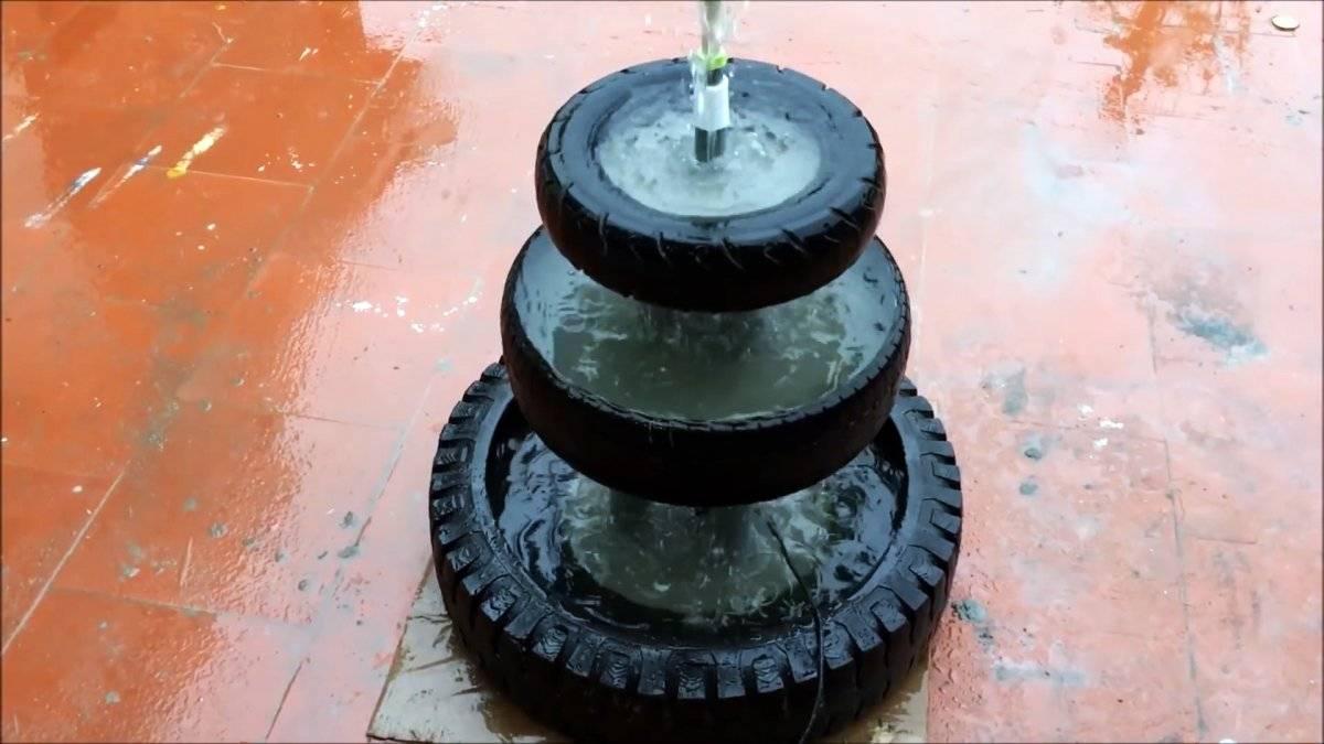 Как сделать трехъярусный садовый фонтанчик из старых покрышек