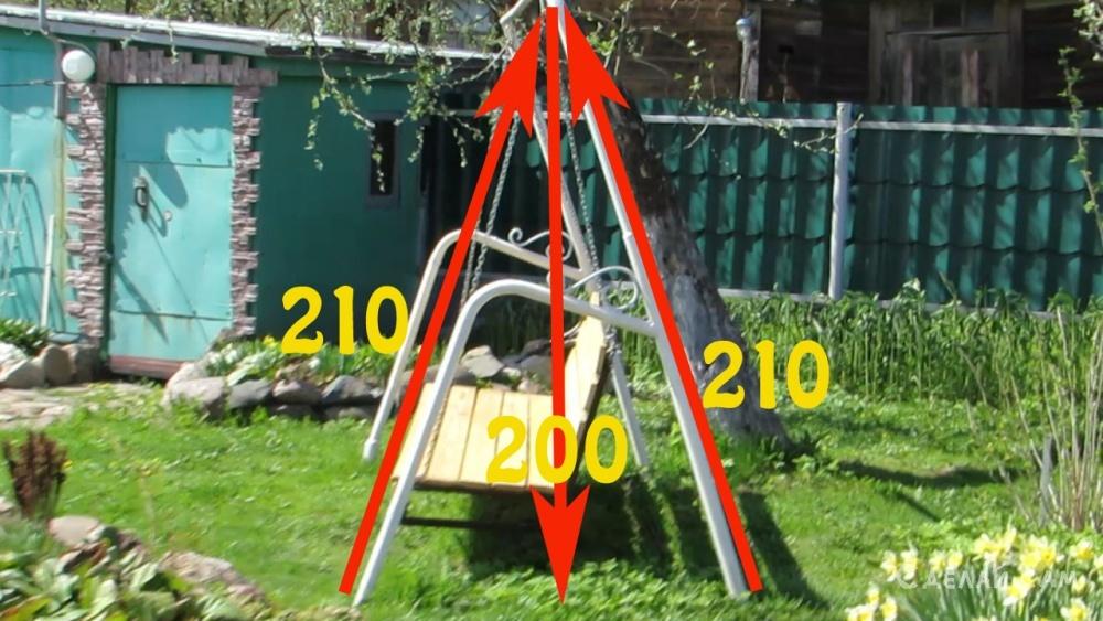 Удобные садовые качели из б/у водопроводных труб.