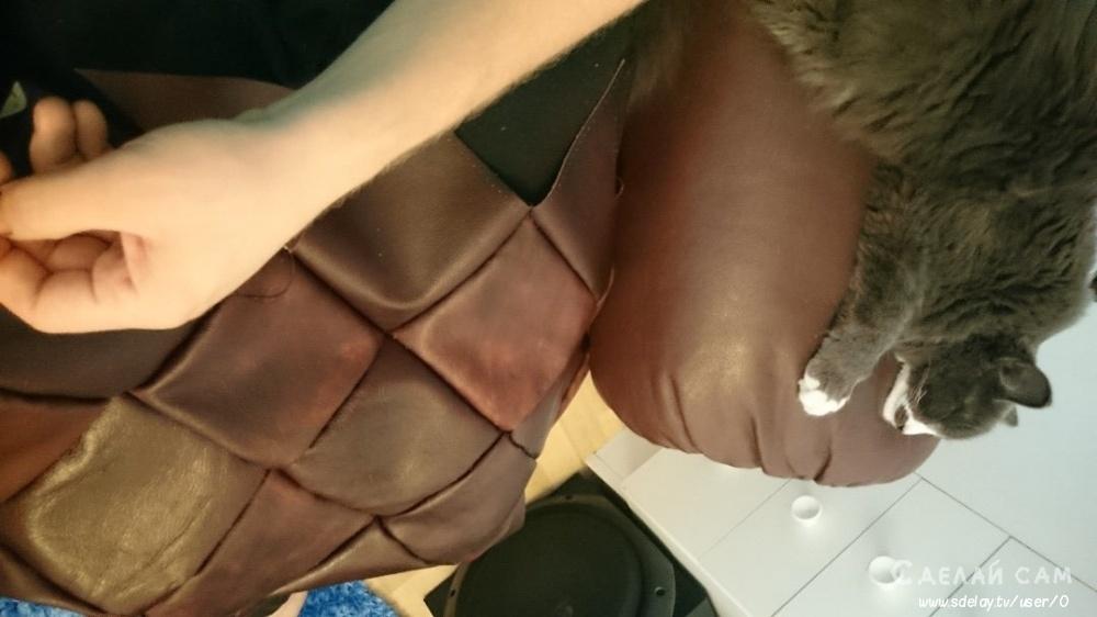 Кожаная оббивка сидушки банкетки своими руками